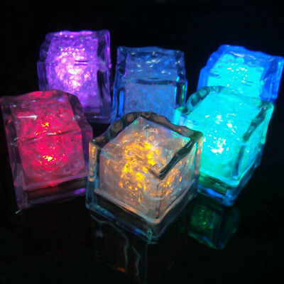 12pcs LED Ice Cubes Wedding DIY Multi Colors Changing Decor Party Props