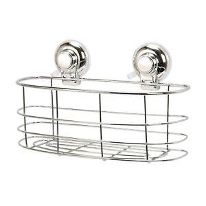 Super-Suction-Wall-Mounted-Chrome-Effect-Bathroom-Oval-Basket-Caddy-Vertex