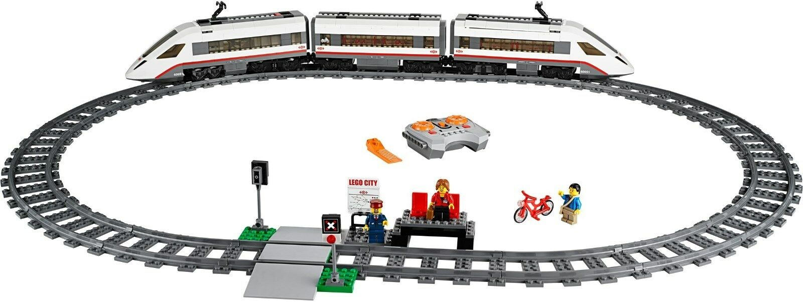 60051 LEGO High-Speed Passenger Train w  3 minifigs - New