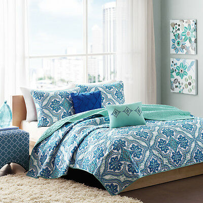 BEAUTIFUL TEAL AQUA BLUE OCEAN EXOTIC SCROLL BOHEMIAN BEACH TROPICAL QUILT SET