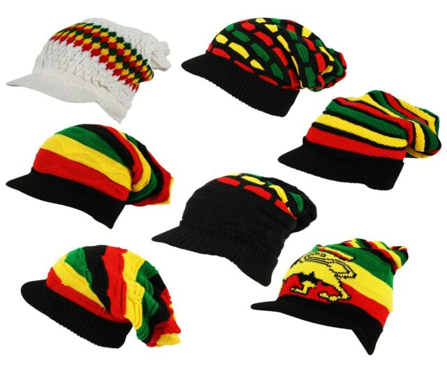 6000391b9 Rasta Stripe Lion Judah Slouch Pull On Peak Visor Beanie Cap Hat - One Size