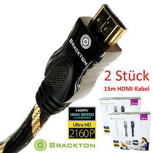 2-pezzi-15-m-HDMI-cavo-con-Ethernet-Ultra-HD-3D-connettore-metallo-99-99-rame