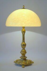 Imposante-sehr-grosse-Jugendstil-Tischleuchte-Prunkleuchte-Messinglampe-Unikat