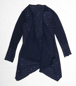 Quiz-Womens-Size-10-Textured-Blue-Cardigan-Regular