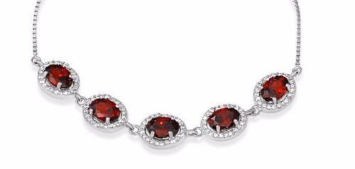 LARIAT BRACELET W// LAB DIAMONDS /& RUBY //925 STERLING SILVER// 9/'/' ADJUST