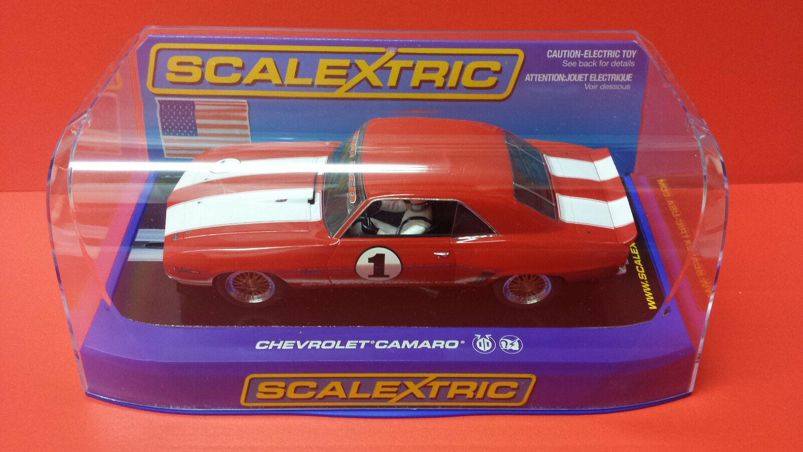 SCALEXTRIC C2975 CHEVROLET CAMARO BIG RED USA ISSUE.