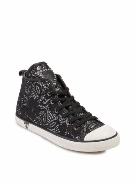 NIB GUESS Julia Lace High Top Ankle Sneakers Keds Black US 6, EU 36.5