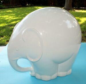 VINTAGE-ELEPHANT-FIGURINE-ITALY-PORCELAIN-MODERNIST-LARGE-PUFFY-WHITE-15-034-X-12-034