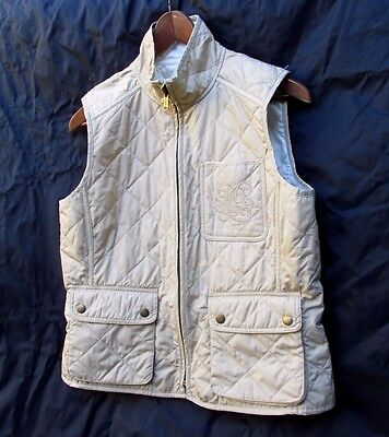 Ralph Lauren Reversible Quilted Vest Tan Ivory Womens M