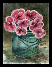 Pink Flowers in old Ball Jar ORIGINAL WATERCOLOR PAINTING Fine ACEO Print SIGNED