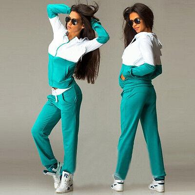 Womens 2Pcs Tracksuit Hoodies Sweatshirt Top Track Yoga Pant Sets Sportwear Suit