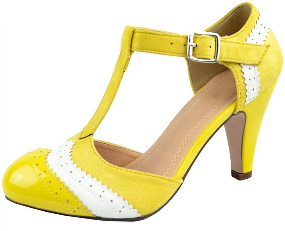 Cambridge Select Women's T-Strap Wingtip Wingtip Wingtip Style Closed Toe Cut Out Mid Heel... 020e6f
