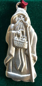 Longaberger Santa Claus Pewter Christmas Ornament St. Nick Holiday Vintage