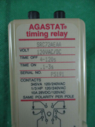 AGASTAT SRC72AEAA TIME DELAY RELAY TIMER 120V  .1-3 SECONDS