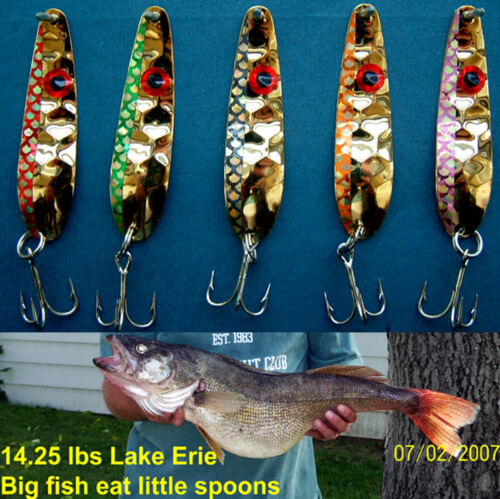 "5 Thin  HEX  2 1//4/"" .016 Gold Flash Trolling Flutter Spoons  Walleye Candy"