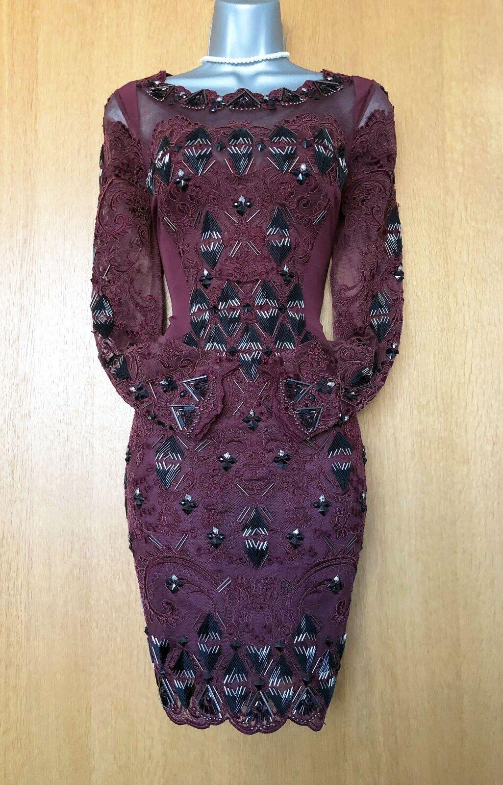 Karen Millen UK 10 Maroon Oriental Embroiderot Embellished Beaded Party Dress 38