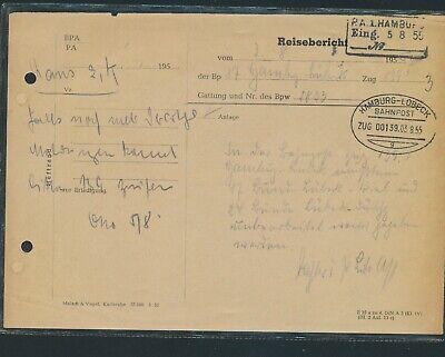 """Aufrichtig 35231) Bahnpost Ovalstempel Hamburg - Lübeck Zug 00139g, Ps """"reisebericht"""" 1955 2019 Offiziell"""