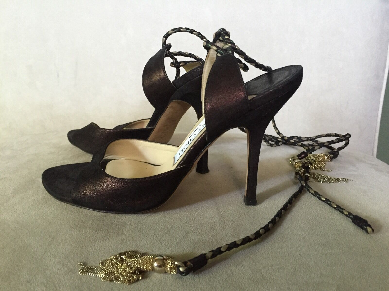 seleziona tra le nuove marche come Jimmy Choo Bronze Suede Lace Up Up Up Sandals Heels Chain 36.5  contatore genuino