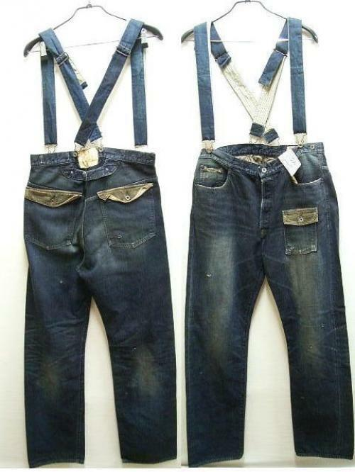 [W38] KAPITAL KOUNTRY Denim Suspenders Navy Country Pants