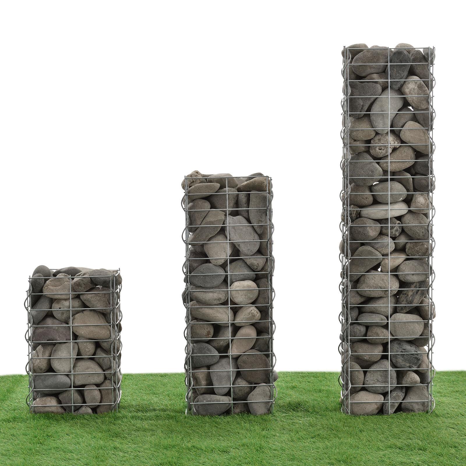 [ Nuevo. Casa ] Gabionen 3er-Set 115+75+45cm Gaviones Gavión de Columna