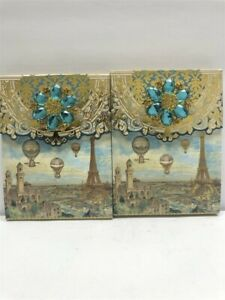 2 Punch Studio Decorative Brooch Note Pads 46500 Balloons Paris, Discontinued!