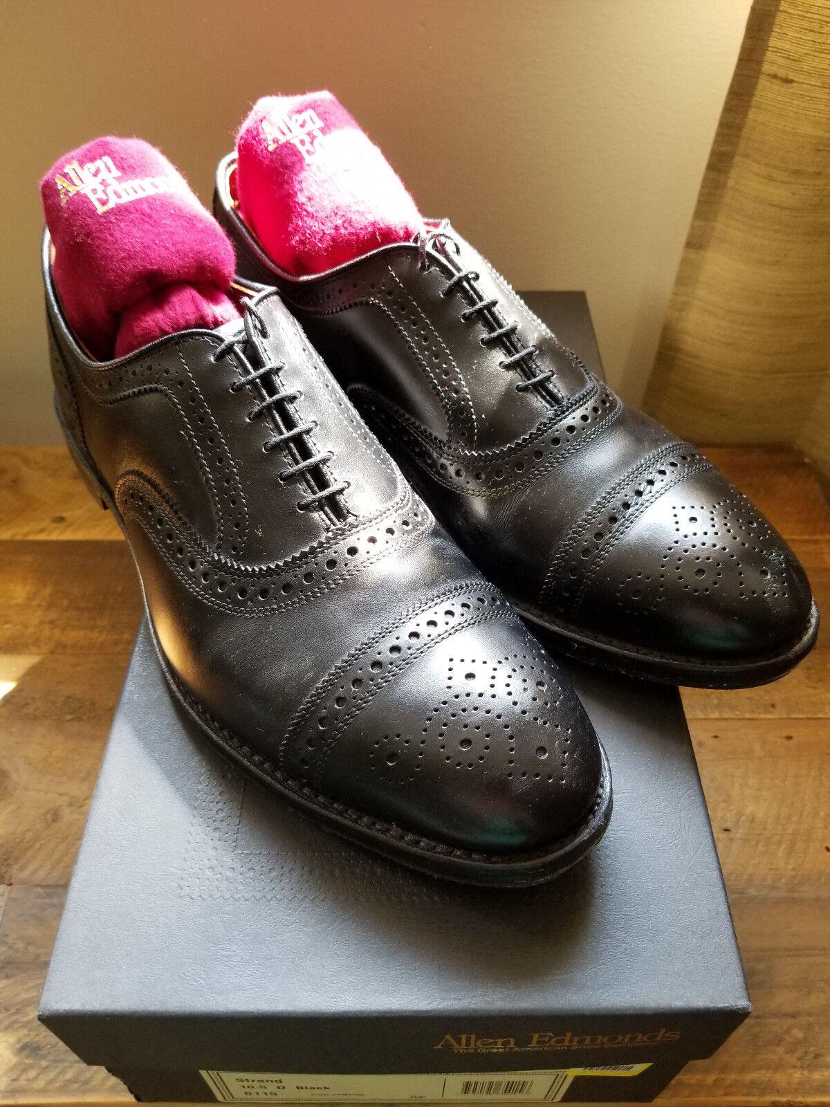 Allen Edmonds Strand Captoe Oxfords Mens Sz 10.5 D Black Leather Brogue, Toppy
