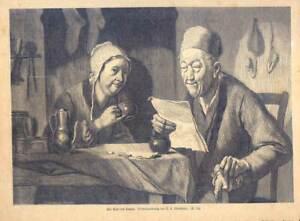 Der Brief des Sohnes - Holzstich nach Oberländer 1870