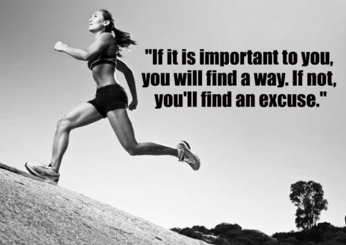Motivational Athletic Poster 605 Black White Photo Running Girl Inspiration