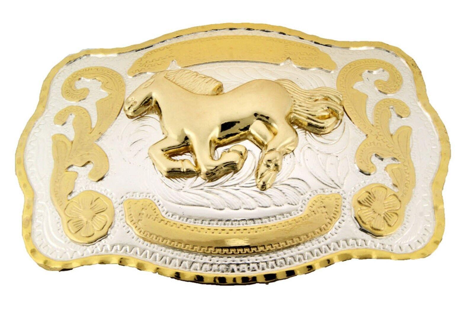 Pferd Gürtelschnalle Cowboy Groß Western Gold Silber Men Damen Rodeo Zweifarbig