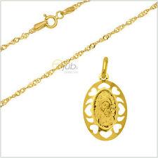 Goldkette mit Anhänger Maria Heilige Madonna Jesus Gelbgold Singaporkette