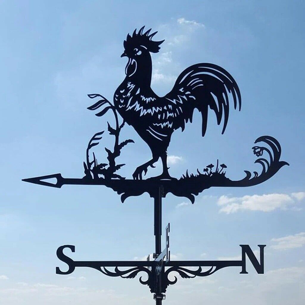 Weather Vane Wind Direction Indicator Weathervane Black Rooster Statue 29 In