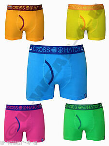 MENS CROSSHATCH EMBERS BRIGHT PLAIN COLOURED FITTED TRUNK BOXER SHORTS. S,M,L,XL