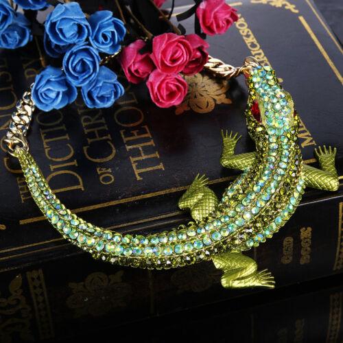 Crocodile Alligator Animal Necklace Choker Green Austrian Crystal Party Gift