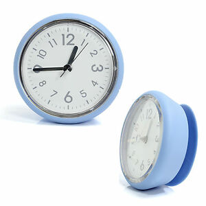 Blue Bathroom Mirror Suction Clock Shower Room Clock Kitchen Clock Waterproof Ebay