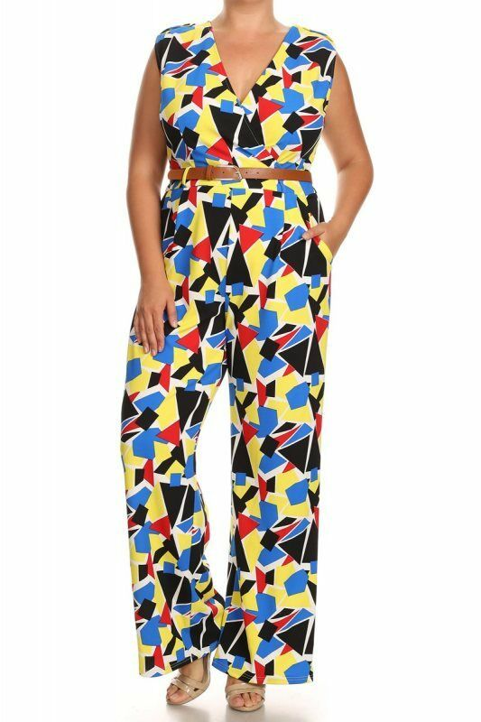 c9a39c338a8 Plus Size Multi-color Jumpsuit Abstract Print Sleeveless Relaxed Fit Wide  Leg