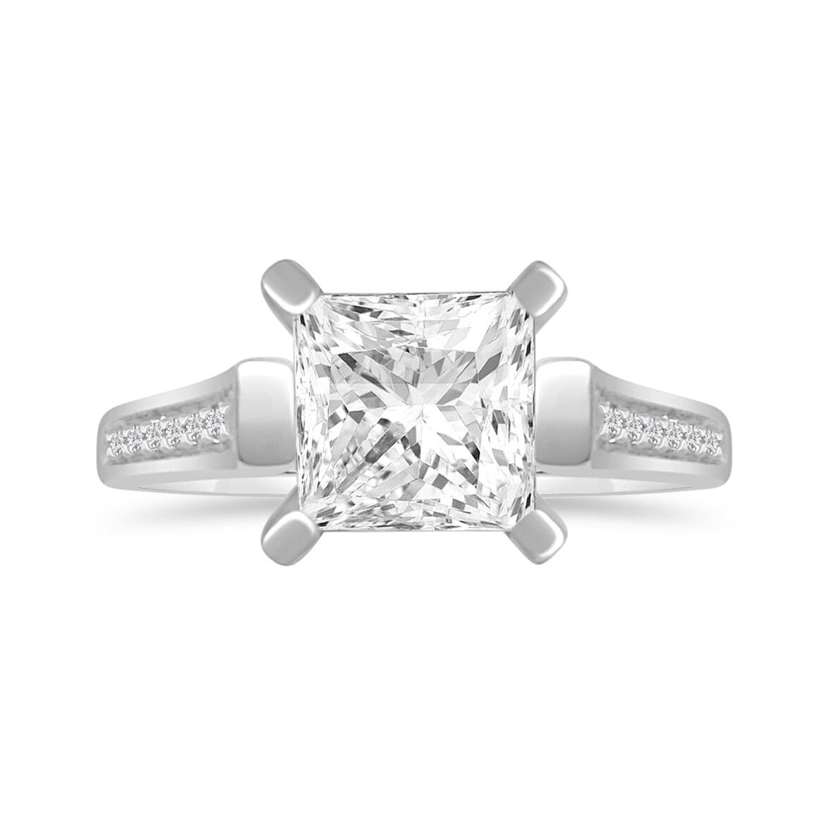 0.75 Ct Princess D VVS1 Solitaire W Accents Engagement Ring 14K gold Over 7MM
