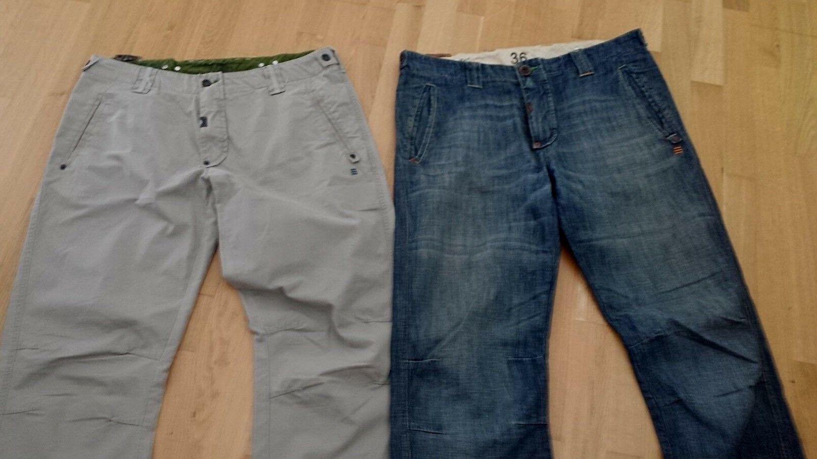 2 Stk. AEM KEI Beige Hose neu mit Etikett   Blau Jeans Hose ohne Etikett