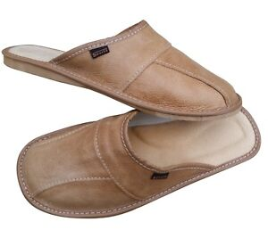 Mens Brown Leather Slippers Slip On