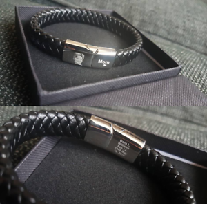 Personalised-Mens-Leather-Bracelet-Engraved-PHOTO-amp-Text-Jewellery