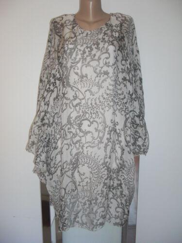Eg Black Seide Impressionen Tunika Italy Kleid 44 White Empire Boho Lagenlook 40 Wx6W1nq8z