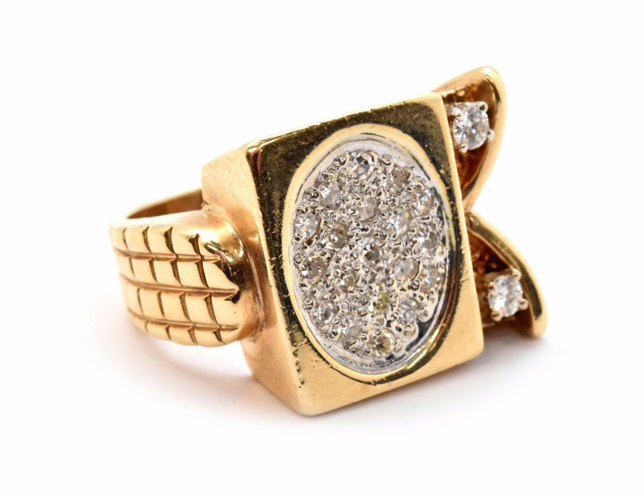 14k Yellow gold and 0.64cttw Diamond Fashion Ring Size 12