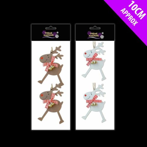 White or Brown Christmas Xmas Tree Decoration Wooden Rudolph Hangers x 10cm