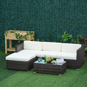 5pcs Rattan Wicker Sofa Set All Weather Cushioned Seat