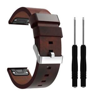 22mm-Leder-Armband-Uhrenarmband-Ersatz-Strap-fuer-Garmin-Fenix-5-Plus