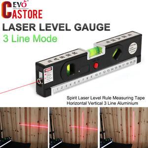 Laser-Spirit-Level-Rule-Measuring-Tape-Aluminium-Horizontal-Vertical-3-Line