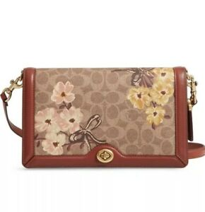 a0859fd94a Details about ❤️ Coach Riley Signature Canvas Prairie Blossoms Tan/Rust  Bow/Gold Crossbody Bag