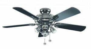 Modern Flush Mount Ceiling Fan Light Fantasia Gemini Pewter Black 107cm 42 5016017111849 Ebay