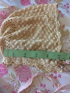 Antique-Bonnet-Doll-Baby-Knit-Vintage-Lace-Silky-Dainty-Clothes-Costume-Nubby
