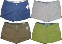 Womens Aeropostale Solid Uniform Cuffed Twill Midi Shorts 2194