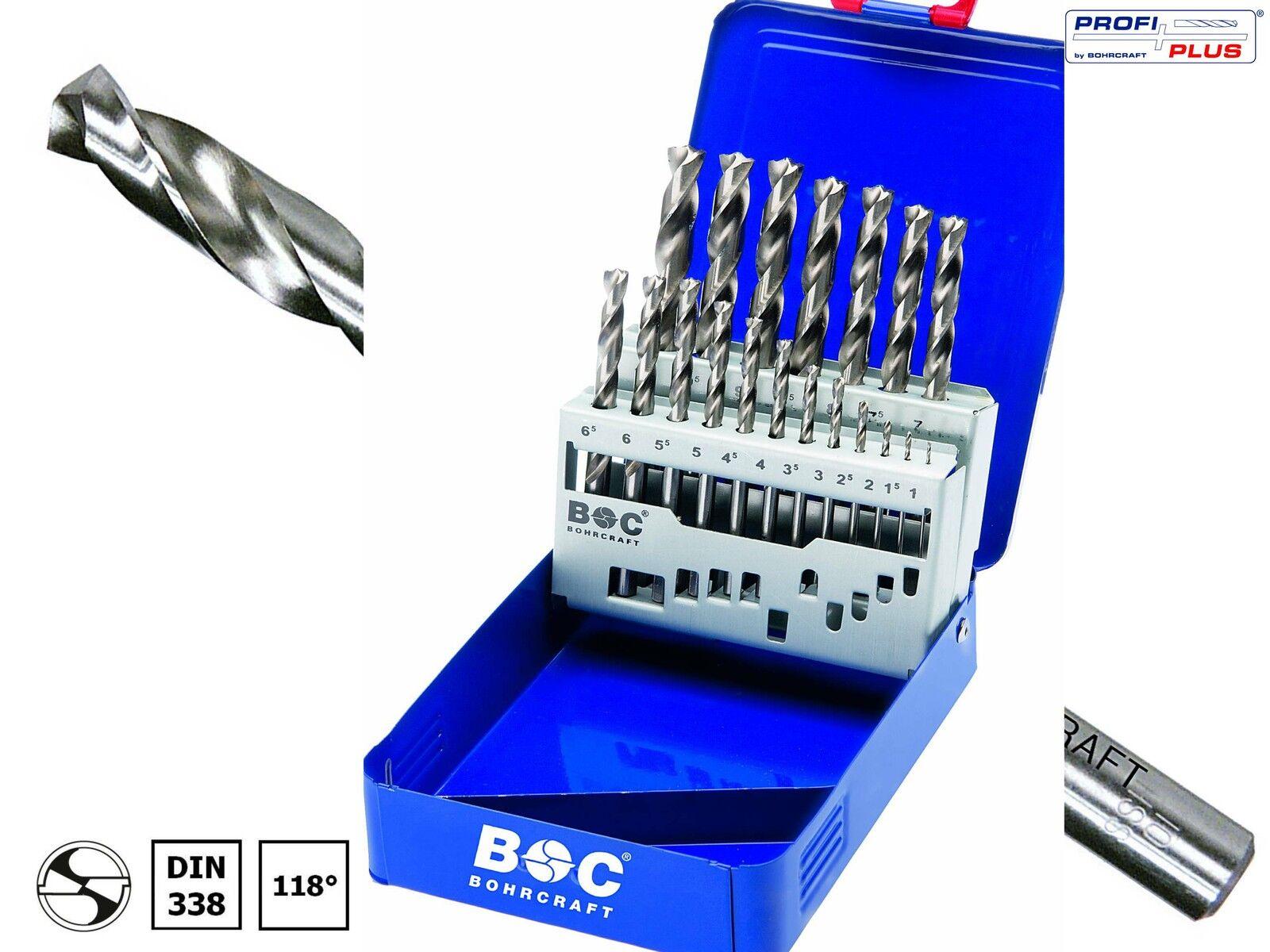 BOHRCRAFT 25-tlg HSS-G Präzisions-Spiralbohrer DIN338 1,0-13,0 x 0,5mm Metall